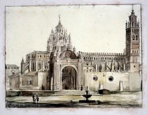 Fachada Catedral de Tarazona año 1840