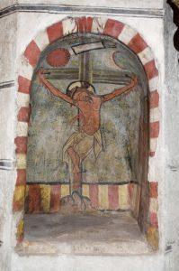 Crucifixión de Jesús. Pintura gotica en la Catedral de Tarazona. Fundacion Tarazona Monumental