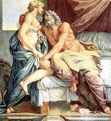 Zeus y Hera, su hermana, de la que se enamoró.