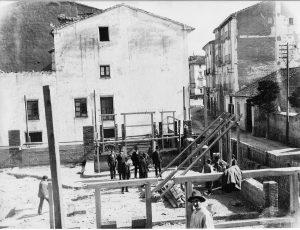 Fotografía de la construcción del Teatro de Bellas Artes. 1920