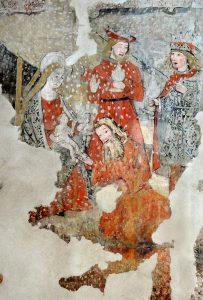 Pinturas murales descubiertas en las obras realizadas en el claustro.